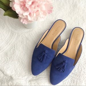 Blue Talbots Edison Kid Suede Mules with tassels